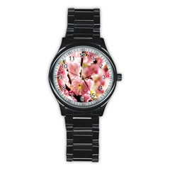 Blooming Almond At Sunset Stainless Steel Round Watch by FunnyCow