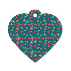 Teal Hats Dog Tag Heart (two Sides) by snowwhitegirl