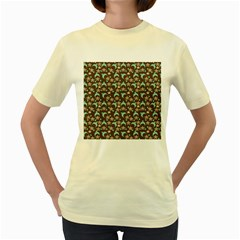Brown With Blue Hats Women s Yellow T Shirt by snowwhitegirl