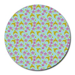 Blue Star Yellow Hats Round Mousepads