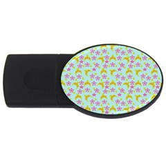 Blue Star Yellow Hats Usb Flash Drive Oval (4 Gb) by snowwhitegirl