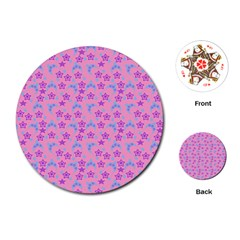 Pink Star Blue Hats Playing Cards (round)  by snowwhitegirl