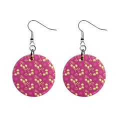 Yellow Pink Cherries Mini Button Earrings by snowwhitegirl