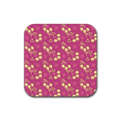 Yellow Pink Cherries Rubber Coaster (square)  by snowwhitegirl