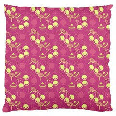 Yellow Pink Cherries Large Cushion Case (one Side) by snowwhitegirl