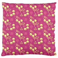Yellow Pink Cherries Standard Flano Cushion Case (two Sides) by snowwhitegirl