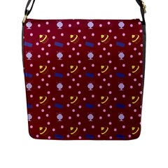 Cakes And Sundaes Red Flap Messenger Bag (l)  by snowwhitegirl