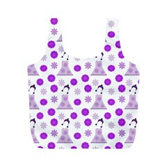 Lilac Dress On White Full Print Recycle Bags (m)  by snowwhitegirl