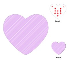 Lilac Diagonal Lines Playing Cards (heart)  by snowwhitegirl