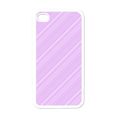 Lilac Diagonal Lines Apple Iphone 4 Case (white) by snowwhitegirl