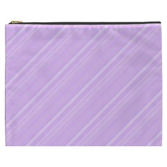 Lilac Diagonal Lines Cosmetic Bag (xxxl) by snowwhitegirl