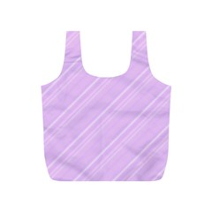 Lilac Diagonal Lines Full Print Recycle Bags (s)  by snowwhitegirl