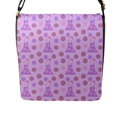 Violet Pink Flower Dress Flap Messenger Bag (l)  by snowwhitegirl