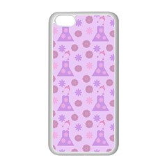Violet Pink Flower Dress Apple Iphone 5c Seamless Case (white) by snowwhitegirl