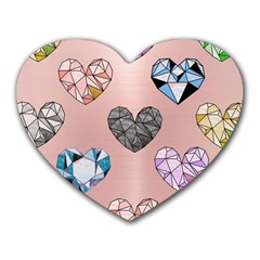 Gem Hearts And Rose Gold Heart Mousepads by 8fugoso