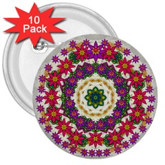 Fauna Fantasy Bohemian Midsummer Flower Style 3  Buttons (10 Pack)  by pepitasart