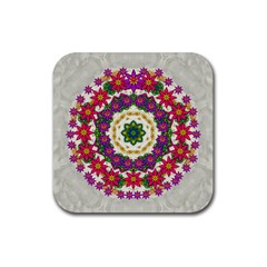 Fauna Fantasy Bohemian Midsummer Flower Style Rubber Coaster (square)  by pepitasart