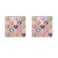 Gem Hearts And Rose Gold Cufflinks (square) by 8fugoso