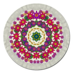Fauna Fantasy Bohemian Midsummer Flower Style Magnet 5  (round) by pepitasart