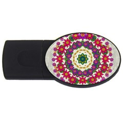 Fauna Fantasy Bohemian Midsummer Flower Style Usb Flash Drive Oval (2 Gb) by pepitasart