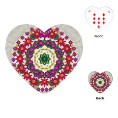 Fauna Fantasy Bohemian Midsummer Flower Style Playing Cards (heart)  by pepitasart