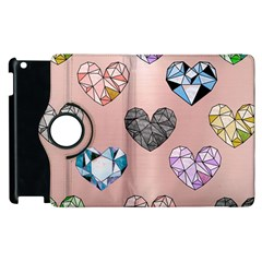 Gem Hearts And Rose Gold Apple Ipad 2 Flip 360 Case by 8fugoso