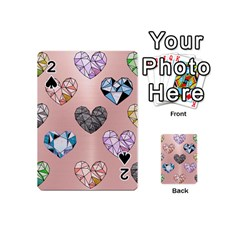 Gem Hearts And Rose Gold Playing Cards 54 (mini)  by 8fugoso
