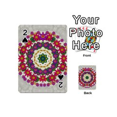 Fauna Fantasy Bohemian Midsummer Flower Style Playing Cards 54 (mini)  by pepitasart