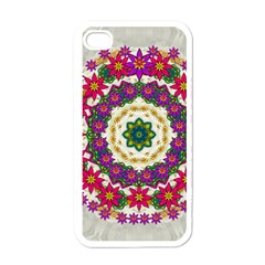 Fauna Fantasy Bohemian Midsummer Flower Style Apple Iphone 4 Case (white) by pepitasart