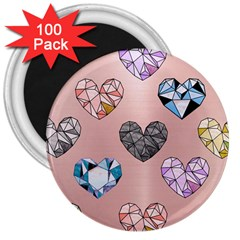 Gem Hearts And Rose Gold 3  Magnets (100 Pack)