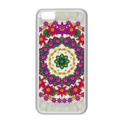 Fauna Fantasy Bohemian Midsummer Flower Style Apple Iphone 5c Seamless Case (white) by pepitasart