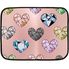 Gem Hearts And Rose Gold Fleece Blanket (mini) by 8fugoso