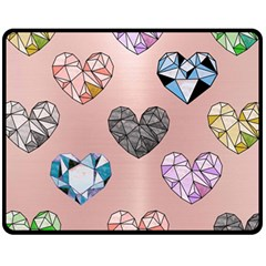 Gem Hearts And Rose Gold Fleece Blanket (medium)  by 8fugoso