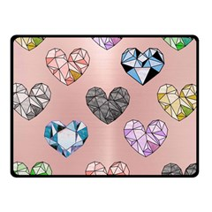 Gem Hearts And Rose Gold Double Sided Fleece Blanket (small)  by 8fugoso