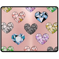 Gem Hearts And Rose Gold Double Sided Fleece Blanket (medium)  by 8fugoso