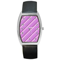 Violet Diagonal Lines Barrel Style Metal Watch by snowwhitegirl