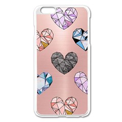 Gem Hearts And Rose Gold Apple Iphone 6 Plus/6s Plus Enamel White Case by 8fugoso