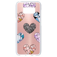 Gem Hearts And Rose Gold Samsung Galaxy S8 White Seamless Case by 8fugoso