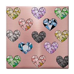 Gem Hearts And Rose Gold Tile Coasters by 8fugoso