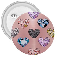 Gem Hearts And Rose Gold 3  Buttons by 8fugoso
