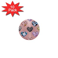 Gem Hearts And Rose Gold 1  Mini Buttons (10 Pack)  by 8fugoso