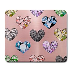 Gem Hearts And Rose Gold Large Mousepads by 8fugoso