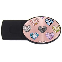 Gem Hearts And Rose Gold Usb Flash Drive Oval (2 Gb) by 8fugoso
