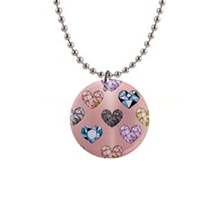 Gem Hearts And Rose Gold Button Necklaces by 8fugoso
