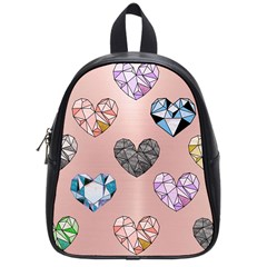 Gem Hearts And Rose Gold School Bag (small) by 8fugoso
