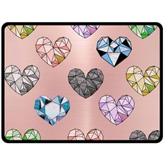 Gem Hearts And Rose Gold Fleece Blanket (large)  by 8fugoso