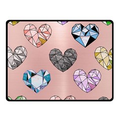 Gem Hearts And Rose Gold Fleece Blanket (small) by 8fugoso