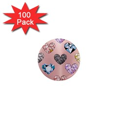 Gem Hearts And Rose Gold 1  Mini Magnets (100 Pack)