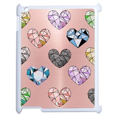 Gem Hearts And Rose Gold Apple Ipad 2 Case (white) by 8fugoso