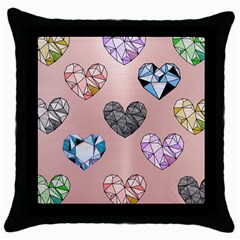 Gem Hearts And Rose Gold Throw Pillow Case (black) by 8fugoso